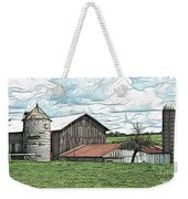 Barn Landscape Colored Pencil Chicken Scratch Effect Weekender Tote Bag