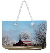 Barn On Frosty Morn Weekender Tote Bag