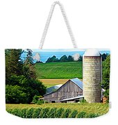 Barn Silo And Crops In Nys Expressionistic Effect Weekender Tote Bag