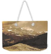 Barn With A Rocky Mountain View In Sepia Weekender Tote Bag