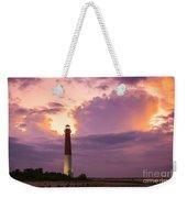Barnegat Lighthouse Stormy Sunset Weekender Tote Bag