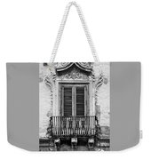 Baroque Balcony Window. Messina, Sicily.    Black And White Weekender Tote Bag