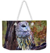 Barred Owl In The Rain Oil Painting Weekender Tote Bag