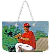 Baseball Pitcher Weekender Tote Bag by Marilyn Holkham