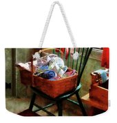 Basket Of Cloth And Yarn On Chair Weekender Tote Bag