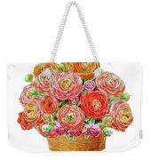 Basket With Ranunculus Flowers Watercolor Weekender Tote Bag