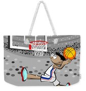 Basketball Player Jumping And Flying To Shoot The Ball In The Hoop Weekender Tote Bag