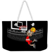 Basketball Player Jumping In The Stadium And Flying To Shoot The Ball In The Hoop Weekender Tote Bag