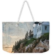 Bass Harbor Lighthouse On Maine Nautical Chart Weekender Tote Bag