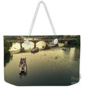Bat Watchers Stand In Tour Boats As The Bats Take Flight During Sunset On The Congress Avenue Bridge Weekender Tote Bag