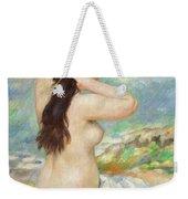 Bather Arranging Her Hair Weekender Tote Bag by Pierre Auguste Renoir