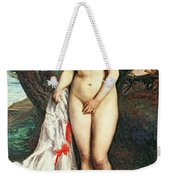 Bather With A Griffon Dog Weekender Tote Bag