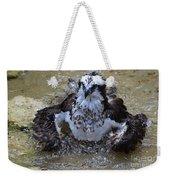 Bathing Osprey In Shallow Water Weekender Tote Bag