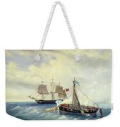 Battle Between The Russian Ship Opyt And A British Frigate Off The Coast Of Nargen Island  Weekender Tote Bag