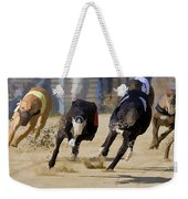 Battle Of The Racing Greyhounds At The Track Weekender Tote Bag