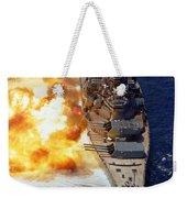 Battleship Uss Iowa Firing Its Mark 7 Weekender Tote Bag by Stocktrek Images