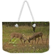 Battling Whitetails 0102 Weekender Tote Bag by Michael Peychich