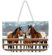 Bay Appaloosa Horses In Snow Weekender Tote Bag by Crista Forest