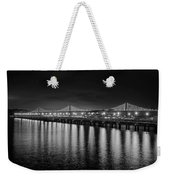 Bay Bridge San Francisco California Black And White Weekender Tote Bag