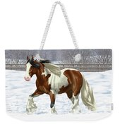 Bay Pinto Gypsy Vanner In Snow Weekender Tote Bag