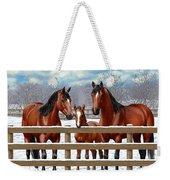 Bay Quarter Horses In Snow Weekender Tote Bag
