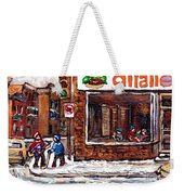 Scenes De Rue De Montreal St Henri Partie De Hockey En Hiver Hockey At Dilallo's Burger Weekender Tote Bag