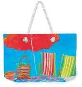 Beach Art - The Red Umbrella Weekender Tote Bag