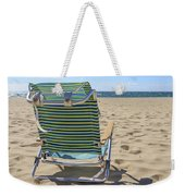Beach Chair On A Sandy Beach Weekender Tote Bag