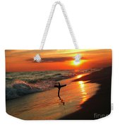 Beach Sunset And Cross Weekender Tote Bag