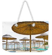 Beach Umbrellas And Chairs On Sandy Seashore Weekender Tote Bag