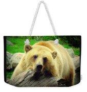 Bear On A Log Weekender Tote Bag