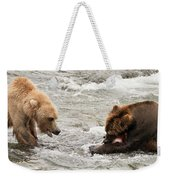 Bear Watches Another Eat Salmon In River Weekender Tote Bag