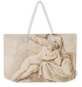 Bearded Man Embracing A Young Woman Weekender Tote Bag