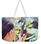 Beautiful Asian Woman Holding Incense Sticks During Hindu Ceremony In Bali, Indonesia Weekender Tote Bag