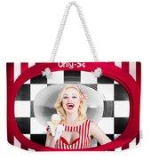 Beautiful Blonde Woman Serving Ice Cream Weekender Tote Bag
