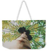 Beautiful Branches And Leaves Of Papaya Tree Along With The Tasty Exotic Fruit Fill The Frame Weekender Tote Bag