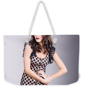 Beautiful Brunette Girl Wearing Retro Zipper Dress Weekender Tote Bag