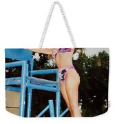 Beautiful Brunette Model At The Beach Weekender Tote Bag
