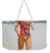 Beautiful Brunette Model On The Beach Weekender Tote Bag