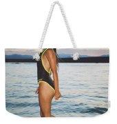 Beautiful Brunette On The Beach Weekender Tote Bag