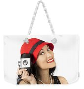 Beautiful Chinese Woman Holding Old Film Camera Weekender Tote Bag
