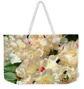 Beautiful Creamy White Pink Rhodies Floral Garden Baslee Troutman Weekender Tote Bag