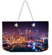 Beautiful Famous Downtown Area In Dubai At Night, Dubai, United Arab Emirates Weekender Tote Bag