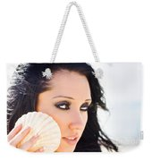 Beautiful Girl Holding A Cockle Shell Weekender Tote Bag