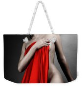 Beautiful Naked Woman Covering Herself With Red Drape Weekender Tote Bag
