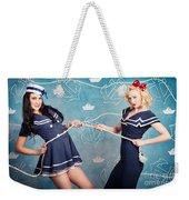 Beautiful Navy Pinup Girls On Marine Background Weekender Tote Bag