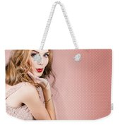 Beautiful Portrait Of 1950 Model Girl In Pin Up Weekender Tote Bag