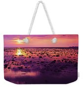 Beautiful Purple Sunset During Tide Shows Up Rocky Beach Weekender Tote Bag