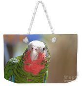 Beautiful Red Feathers On The Throat Of A Green Conure Bird Weekender Tote Bag