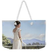 Beautiful Regency Woman Admiring The View From The Terrace Weekender Tote Bag